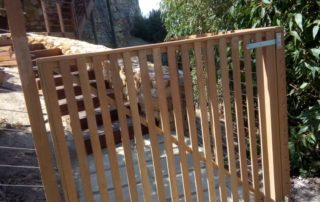 Balau wooden balustrade with stainless steel cable