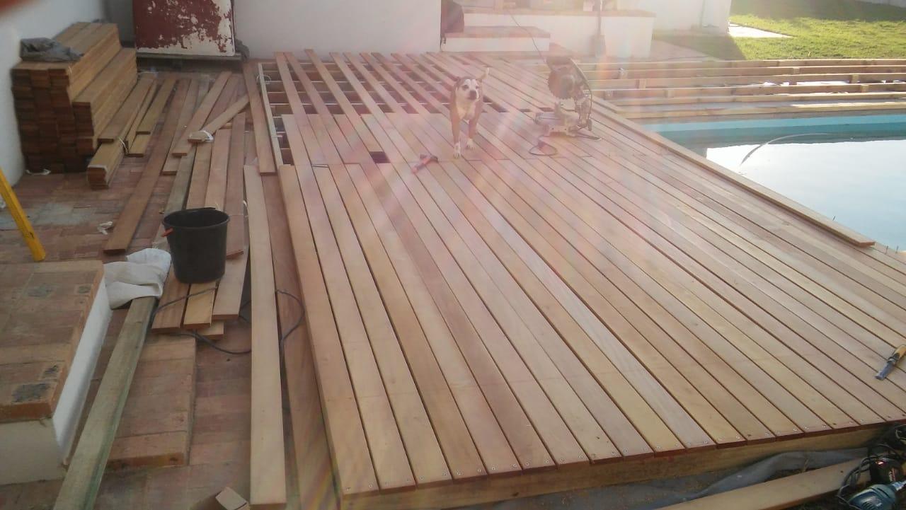 wooden decking - garapa pool deck