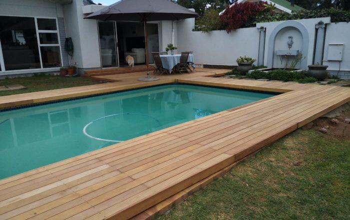 wooden pool decking - garapa - cape decking